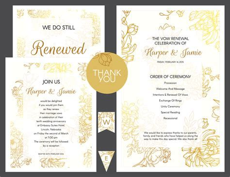 Free Gold Floral Vow Renewal Invitation