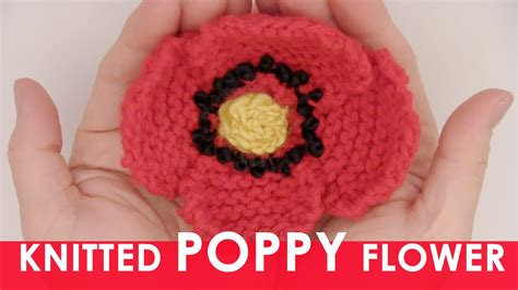 knitted flower pattern youtube how to knit a poppy flower us226