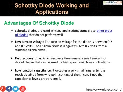 advantages of step recovery diode schottky diode working and applications