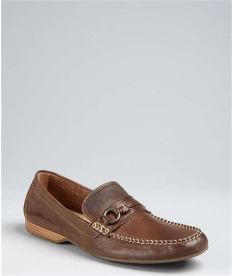 frye loafers mens frye brown leather lewis ring loafers in brown for