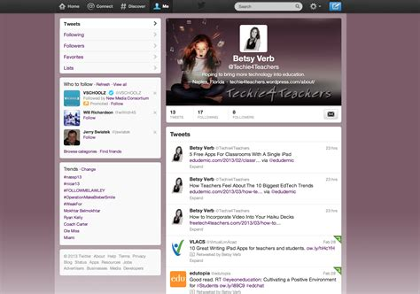 twitter account layout twitter techie 4 teachers