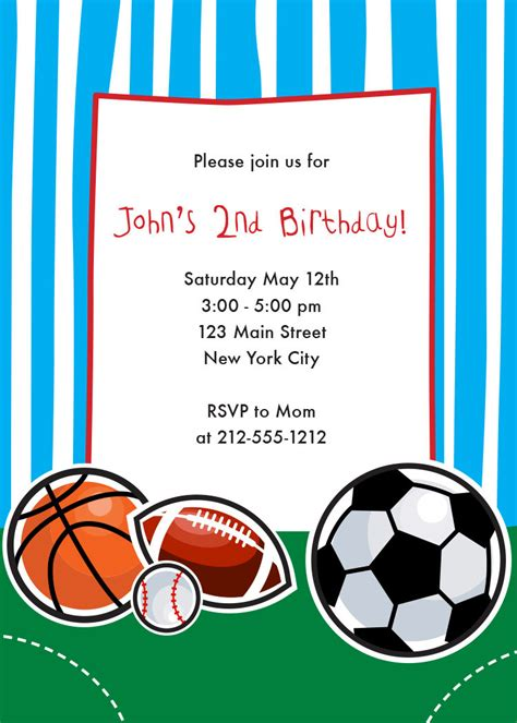 Sports Themed Birthday Invitations | sports themed birthday invitation sports by crowningdetails