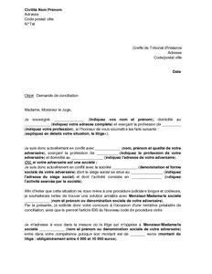 Exemple De Lettre Tribunal D Instance Modele Lettre Conciliateur Impots