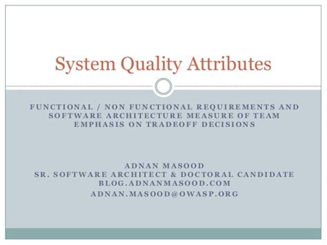 software design quality guidelines and attributes system quality attributes for software architecture