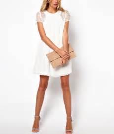 White lace short sleeve slit back chiffon dress casual dresses women