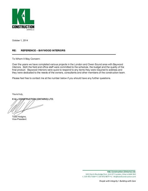 Recommendation Letter From Employer Architect Letters Of Recommendation Baywood Interior Millwork