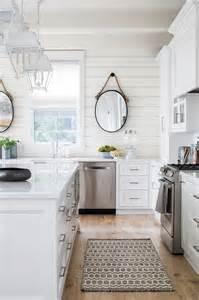 Shiplap Backsplash White Flat Front Cabinets With Charcoal Gray Quartz