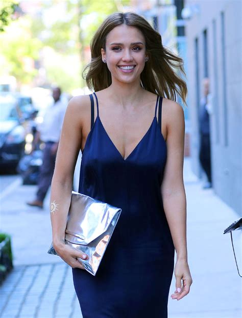 Dress Alba alba in blue dress out in new york city