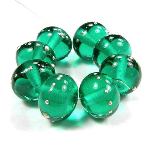 shiny glass bead transparent light teal handmade lwork
