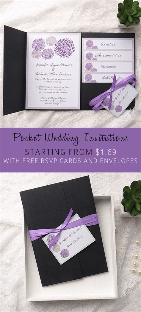 Cheap Purple Wedding Invitations by Cheap Purple Dandelion Black Pocket Wedding Invitation