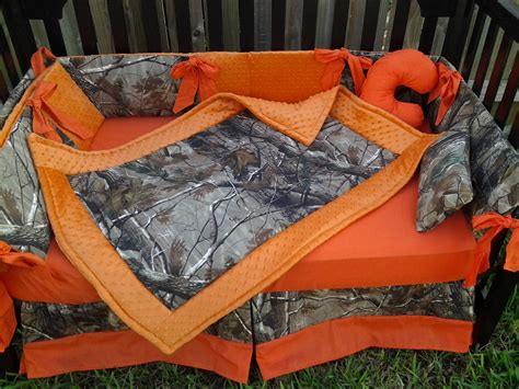 New Brown Real Tree Camouflage Mini Crib Bedding Set W Orange Camouflage Crib Bedding Set
