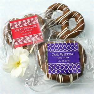 Chocolate Favors For Wedding by Personalized Chocolate Pretzel Edible Wedding Favors