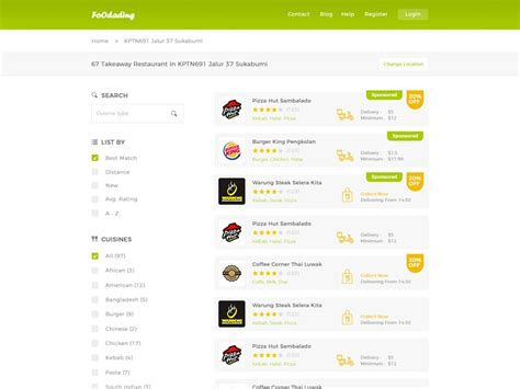 Food Ordering Website Search Page Template Fluxes Freebies Ordering Website Template