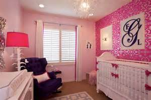 Cute design for girls baby rooms with purple sofa and pink ribbon