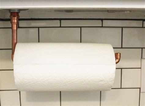 Make Paper Towel Holder - diy cabinet hanging copper paper towel holder