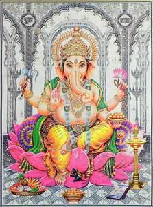 Ganesh On Lotus Lord Ganesha Sitting On Lotus Poster With Glitter