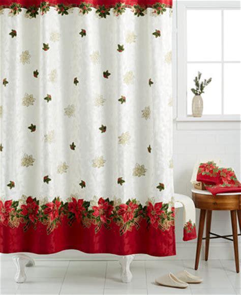 christmas shower curtains and towels lenox holiday poinsettia tartan shower curtain bath