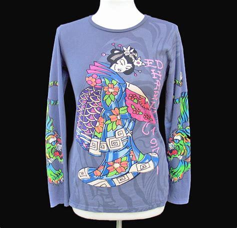 Kaos T Shirt Wanita Import Yellow Base Striped 192192 don ed hardy christian audigier purple kimono geisha tiger shirt nwt large ebay