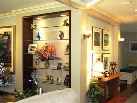 custom bookcase floating glass display shelves