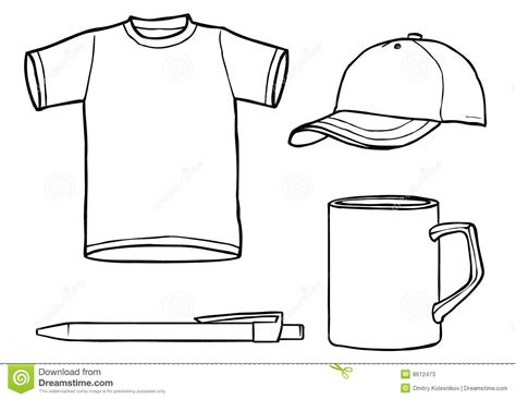 mug design template vector outline template shirt cap mug a pen stock illustration