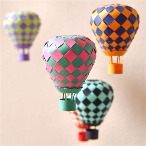 Paper Weaving Crafts - woven papercraft air balloon mobile