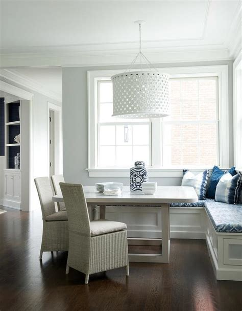 tone breakfast nook table  blue bench cushions