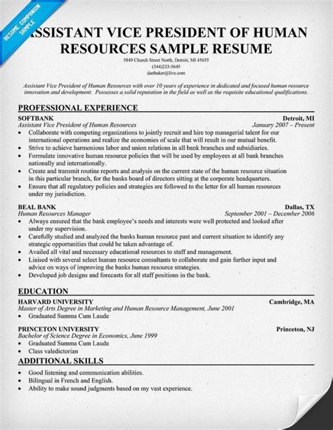 Vp Human Resources Resume Sles 78 Images About Resumes Cover Letters On Resume Tips Project Manager Resume And