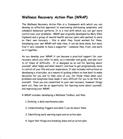 wellness recovery action plan worksheets deployday