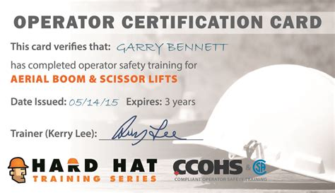 Certificates And Wallet Cards Hard Hat Training Scissor Lift Certification Card Template