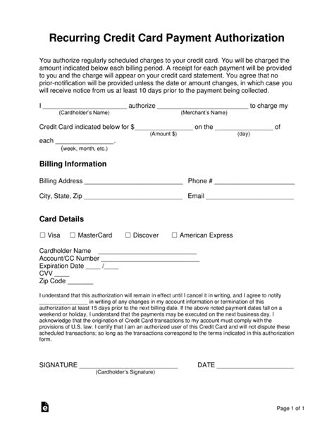 credit card recurring payment authorization form template credit card billing authorization form template invoice