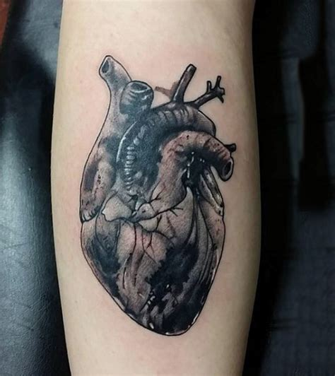 heartbeat tattoo male 90 anatomical heart tattoo designs for men blood pumping ink