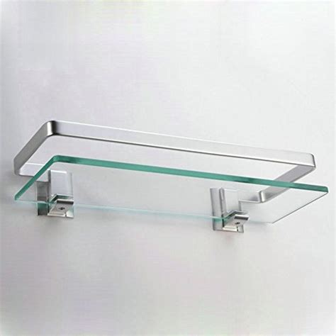 Bathroom Glass Shelves With Rail Kes Bathroom Glass Shelf With Rail Aluminum And Thick Tempered Glass Shower Shelving