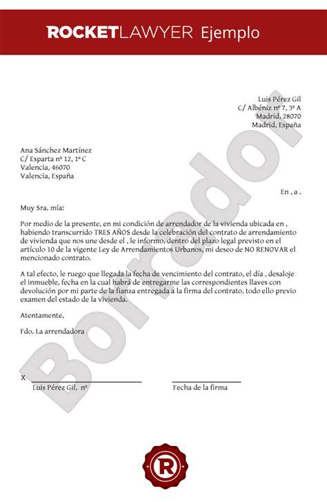 carta de preaviso de no renovacion contrato laboral por el trabajador carta comunicando al arrendatario la no renovaci 243 n del