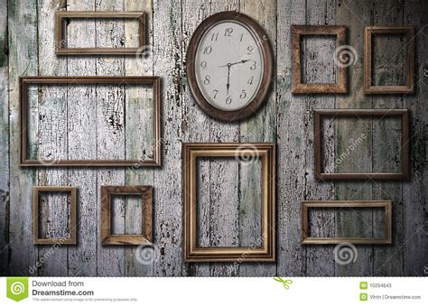 empty frames    wooden wall stock image image