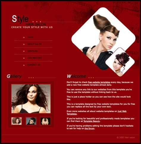Hair Salon Template Free Website Templates Hair Salon Website Design Templates Free