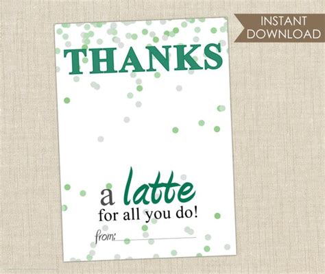 Thanks A Latte Starbucks Gift Card Template by Printable Thanks A Latte Card Thank You Card Gift Card