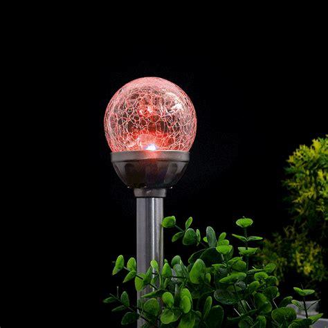 Color Changing Solar Path Lights 2pcs Solar Crackle Glass Color Changing Led Garden