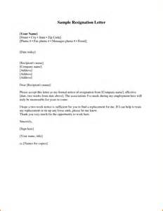 Sle Resignation Letter For It Professional by A Simple Resignation Letter Choice Image Letter Exles Reference