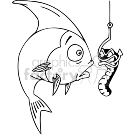 royalty free cartoon a fish see's a mean worm on a hook