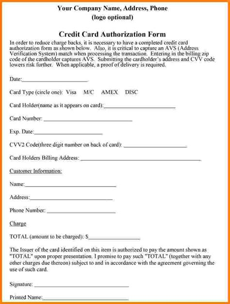 Credit Card Form Template Australia by Blank Credit Card Authorization Form Sle Credit Card