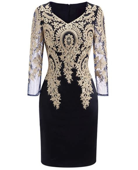 wedding guest dresses for women over 50 long sleeve embroidered cocktail dress for women over 40