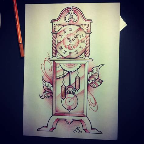grandfather clock tattoo boxer and grandfather clock tattoos drawing photo 2