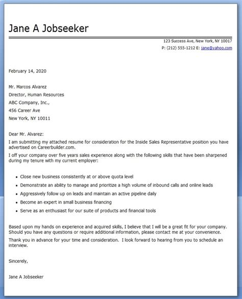 Sales Representative Cover Letter Exle cover letter exles inside sales rep resume downloads