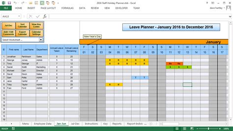 staff planner excel template employee vacation excel manage employee vacation with