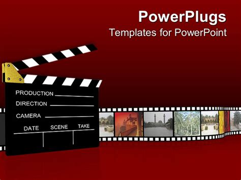 powerpoint template film projector clapboard with vintage