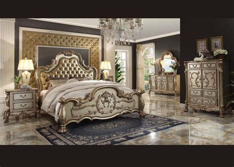 acme furniture queen bedroom set gold 23160q hot sectionals
