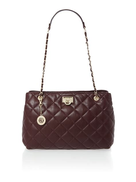 Quilted Chain Bag by Dkny Purple Medium Quilted Chain Tote Bag In Purple Lyst