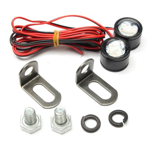 mirror mount strobe lights pair 12v motorcycle mirror mount eagle eye led flash