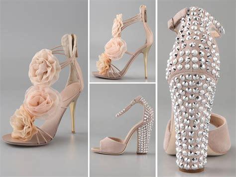 blush pink bridal heels with flower