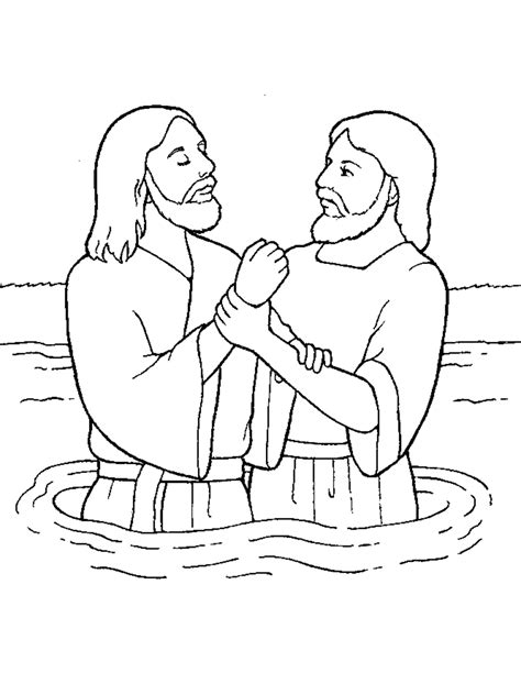 coloring page of john baptizing jesus our deseret homeschool gospel basics 38 week lesson plan